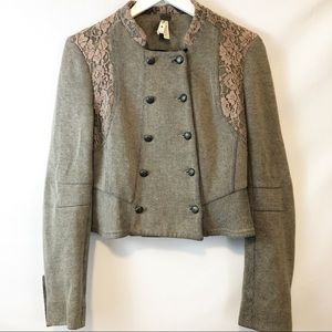 We the Free military style jacket with lace. Sz 6